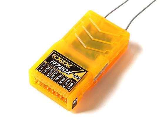 OrangeRx R720X V2 7Ch 2,4 GHz DSM2 / DSMX Comp Full Range Rx w / Sat, Div Ant, F / Safe & CPPM