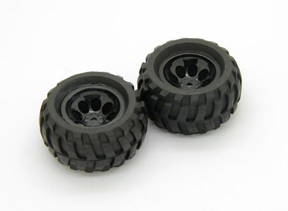 Pre-Geklebte Reifen und Radbaugruppe (2 Stück) - Basher Rocksta 24.01 4WS Mini Rock Crawler