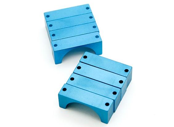 Blau eloxiert CNC-Halbrund-Legierung Rohrklemme (incl.screws) 28mm
