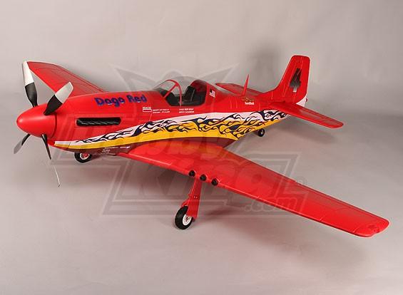 P-51D Dago Red 1600mm EPO w / Elektro Retracts, Klappen, Beleuchtung (PNF)