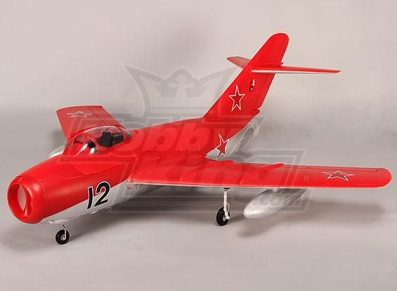 Mig-15 EDF Jet 70mm Elektrische Einziehfahrwerk, Klappen, Airbrake, EPO Rot (PNF)