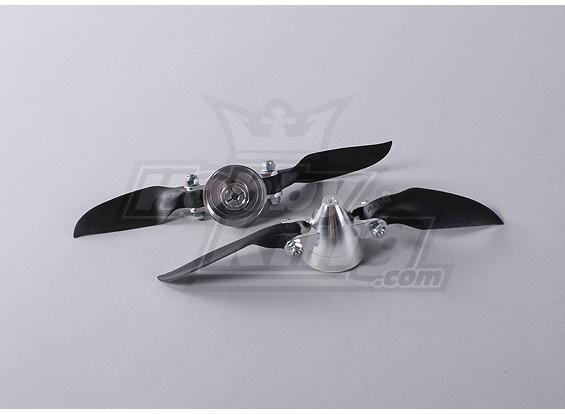 Folding Propeller Assembly 6x3 (Alloy Hub / Spinner) (2pcs / bag)
