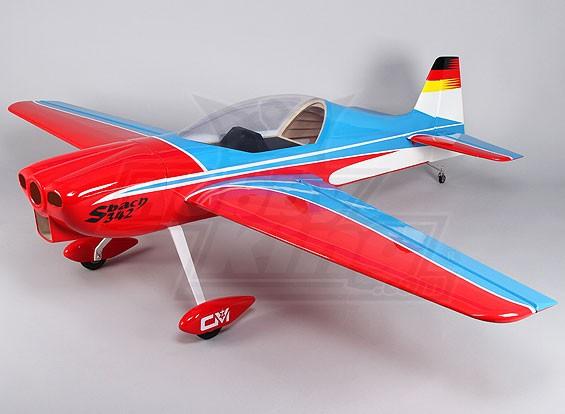 (Komplett) Hobbyking Sbach 342 Blau-Rot Gas 30cc 1850mm (ARF)
