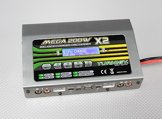 Turnigy Mega 200Wx2 Batterieladegerät / Entlader (400W) V2