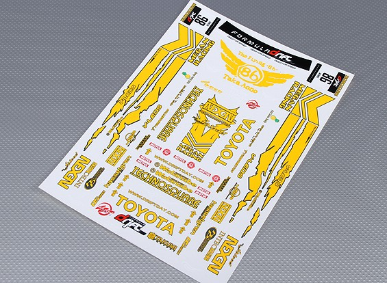 Self Adhesive Aufkleber Blatt - Toyota Drift Maßstab 1:10