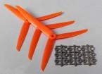 Hobbyking ™ 3-Blatt Propeller 7x3.5 Orange (CW) (3pcs)