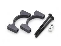 Schwarz eloxiert CNC-Aluminiumrohrklemme 22 mm Durchmesser