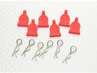 1/10 Car Body Clip mit Gummi-Tab (rot) 6pc