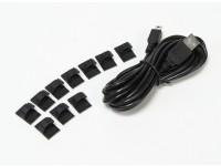 3 Meter USB auf Mini-USB-Ladekabel mit Befestigungs Pads