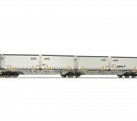 Roco/Fleischmann HO Scale Double Carrier Wagon w/ AXIS Semitrailers AAE