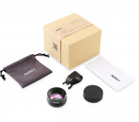 Aukey Optic Pro 2X Clip On Smartphone Lens + accessories