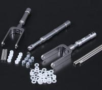 Alloy Oleo Set Twin Nosewheel / Stirrup Mains für 90mm EDF / 1.20 Klasse 3pc