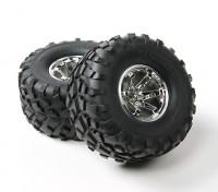 Hobbyking ® ™ 1/10 Crawler 132mm Räder und Reifen (Silber Rim) (2 Stück)