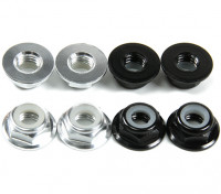 Flansch aus Aluminium Low Profile Nylocmutter M5 (4 Black CW & 4 Silver CCW)
