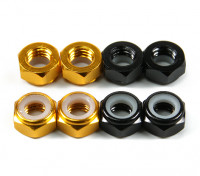 Aluminium Low Profile Nylocmutter M5 (4 Black CW & 4 Gold CCW)