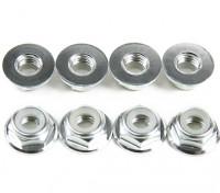 Flansch aus Aluminium Low Profile Nylocmutter M5 Silber (CW) 8pcs