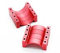 Rot eloxiert CNC-Halbrund-Legierung Rohrklemme (incl.screws) 30mm