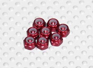 Red eloxiertes Aluminium M3 Nylock Nüsse (8pcs)
