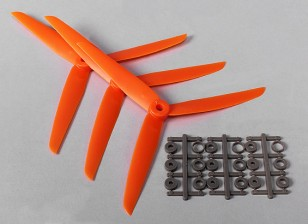 Hobbyking ™ 3-Blatt Propeller 7x3.5 Orange (CW) (3pcs)