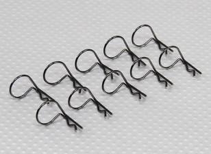 Large-Ring 90 Deg Body Clips (Black) (10 Stück)