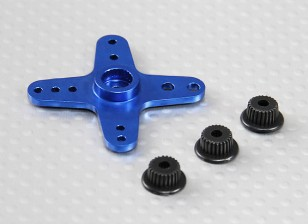 Aluminium-Quer Universal-Servo Arm - JR, Futaba & HITEC (blau)