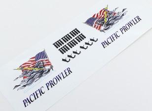 "TD-025-Nasen-Kunst - ""PACIFIC PROWLER"" (Amerikanische Flagge) L / R Handed Aufkleber"