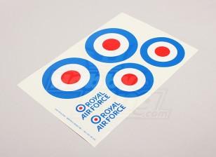 Skalieren Nationale Air Force Insignia Aufkleber Blatt - UK (große Typ A)