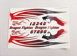Dragon Fighter Aufkleber Blatt Große 445mmx300mm