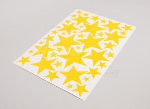 Stern-Gelb Verschiedene Größen Decal Sheet 425mmx300mm