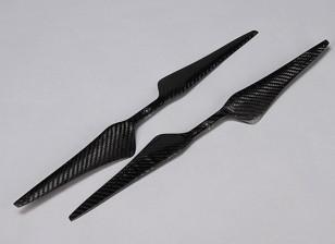 Acromodelle Carbon-Faser T-Style Propeller 17x5.5 Schwarz (CW / CCW) (2 Stück)