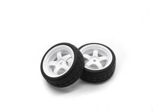 Hobbyking 1/10 Rad / Reifen-Set VTC 5 Spoke hinten (weiß) RC Car 26mm (2 Stück)
