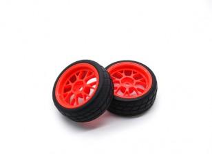 Hobbyking 1/10 Rad / Reifen-Set VTC Y-Speichen Hinten (rot) RC Car 26mm (2 Stück)