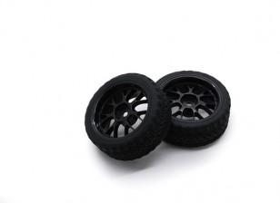 Hobbyking 1/10 Rad / Reifen-Set AF Rally Y-Speichen (schwarz) RC Car 26mm (2 Stück)