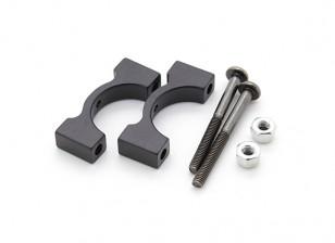 Schwarz eloxiert CNC-Aluminiumrohrklemme 15 mm Durchmesser