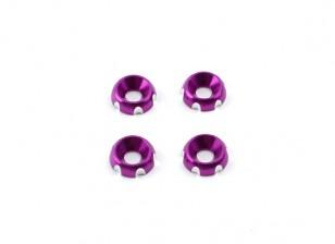 3mm Aluminium CNC Countersunk Washer - Purple (4 Stück)