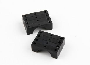 Schwarz eloxiert Doppelseitige CNC-Aluminiumrohrklemme 14 mm Durchmesser