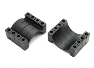 Schwarz eloxiert CNC Aluminium 4.5mm Rohrklemme 22 mm Durchmesser (Satz 4)