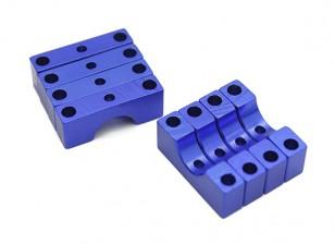 Blau eloxiert Doppelseitige CNC-Aluminiumrohrklemme 8mm Durchmesser