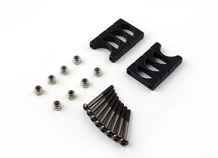 Schwarz eloxiert Doppelseitige CNC-Aluminiumrohrklemme 10 mm Durchmesser