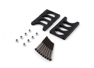 Schwarz eloxiert Doppelseitige CNC-Aluminiumrohrklemme 20 mm Durchmesser