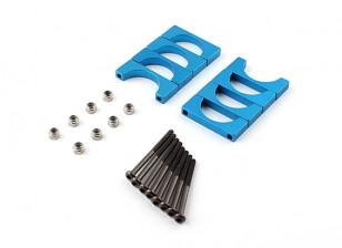 Blau eloxiert Doppelseitige CNC-Aluminiumrohrklemme 20 mm Durchmesser