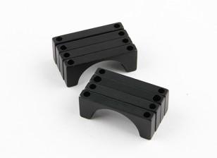 Schwarz eloxiert Doppelseitige CNC-Aluminiumrohrklemme 22 mm Durchmesser