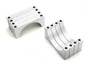 Silber eloxiert CNC 6mm Aluminium Rohrklemme 30 mm Durchmesser