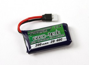 Turnigy Nano-Tech-300mAh 1S 20 ~ 40C Lipo-Pack (Losi Mini-kompatibel)