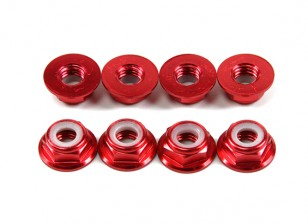 Flansch aus Aluminium Low Profile Nylocmutter M5 Rot (CW) 8pcs