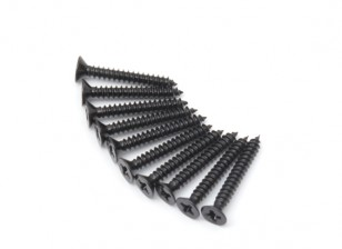 Screw Flat Head Phillips M3x22mm Self Tapping Steel Black (10pcs)