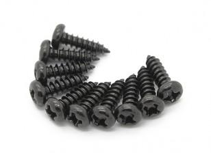Screw Round Head Phillips M3x10mm Self Tapping Steel Black (10pcs)