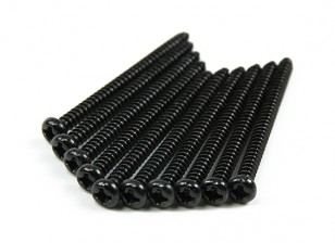 Screw Round Head Phillips M3x40mm Self Tapping Steel Black (10pcs)