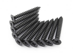 Screw Flat Head Phillips M4x30mm Self Tapping Steel Black (10pcs)