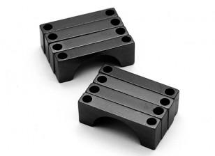Schwarz eloxiert Doppelseitige CNC-Aluminiumrohrklemme 16 mm Durchmesser